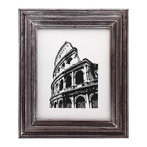 Afuly Antique Picture Frame 8x10 Solid Wood Photo Frames in Dark Brown Wall or Desktop Display
