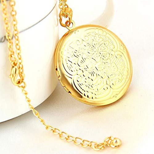 CliPons Gold Plated Locket Necklace Engraved Flower Holds Picture Birthday Gifts Photo Lockets Necklaces