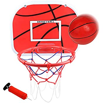"""Over The Door Basketball Hoop (15""""x11.5"""") Mini Wall Basketball Backboard Rim Goal Indoor Toys Set for Toddlers Kids Child Boys Girls Sport with Ball ..."""