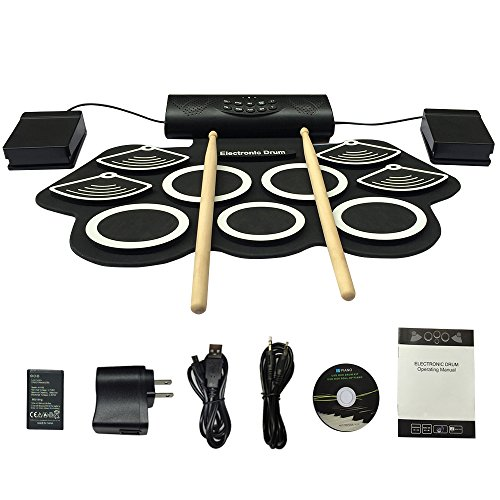 Portable Electronic Drum Set Roll-Up Drum Kit,9 Electric Drum Pads Built in Rechargeable Battery double stereo Speakers , Foot Pedals and Drumsticks for beginners and Holiday gift