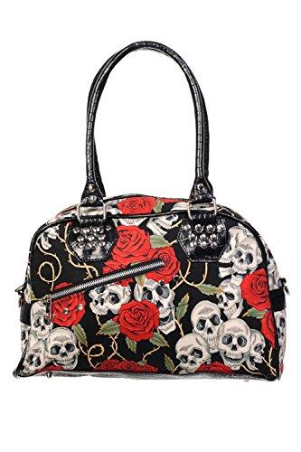 Size One de cráneo del bolso Prohibido rosas Black las 8WPAFq64