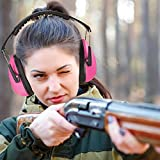 Ear Muffs Noise Protection - Pink Hearing Protection and Noise Cancelling Reduction Safety Ear Muffs, Fits Children and Adults for Shooting, Hunting, Woodworking, Gun Range, Mowing