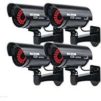 Masione 4 Pack Outdoor Fake / Dummy Security Camera with 30 Illuminating LED Light (Black) CCTV Surveillance