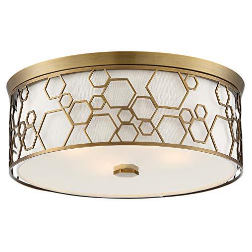 (Minka Lavery Flush Mount Ceiling Light 845-108 Low Profile Fixture, 4-Light 160 Watts, Polished Satin Brass)