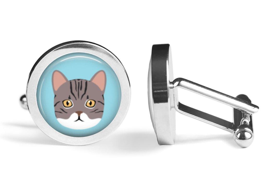 American Shorthair Cat Cufflinks (Angled Edition)
