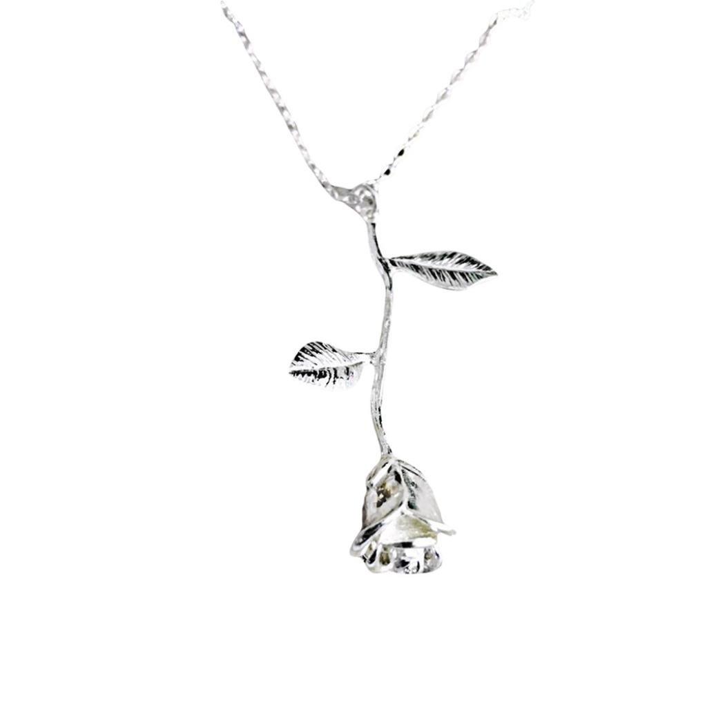 Shybuy Fashion Women 3D Rose Necklace Personalized Floral Pendant Necklace for Ladies (Sliver)