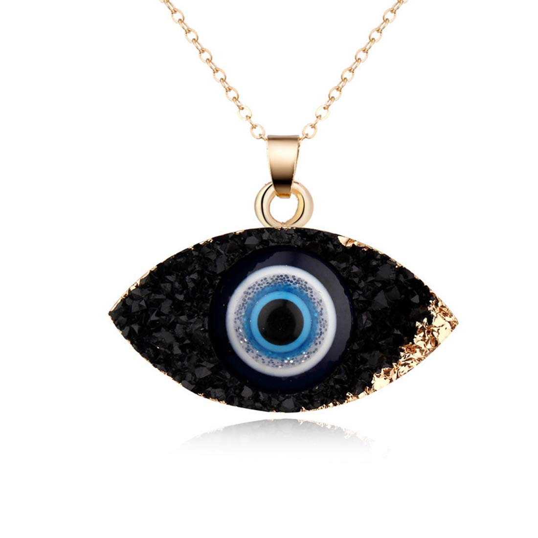 HUNO Classic Turkish Evil Eye Necklace Imitated Druzy Pendant Gold Plated Faith Protection Lucky Jewelry for Women and Girls Party Special Days