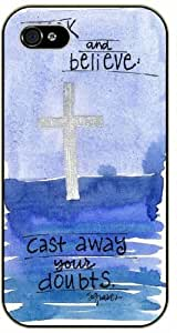 Look and believe, cast away your doubts - Cross art, blue - Bible verse iPhone 4 / 4s black plastic case / Christian Verses