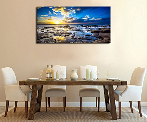 """Canvas Wall Art Sunset Beach Waves Large Nature Picture Painting Panoramic Canvas Artwork Contemporary Wall Art Ocean Beach Coast Rocks Hawaii Landscape for Kitchen Office Home Decoration 20\"""" x 40\"""""""