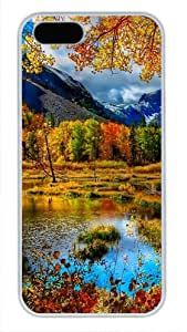 Protective PC Case Skin for iphone 5 White Plastic Case Back Cover Shell for iphone 5S with Mountain Autumn