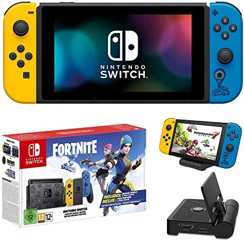 "Nintendo Newest Switch with Yellow and Blue Joy-Con (UK Version) Family Christmas Holiday Bundle - 6.2"" Touchscreen LCD Display, Built-in Speakers - Yellow and Blue + NexiGo_Charging Dock Bundle"