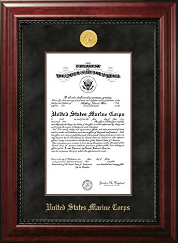 (Campus Images MACEX001 Marine Certificate Executive Frame with Gold Medallion with Mahogany Filet, 10