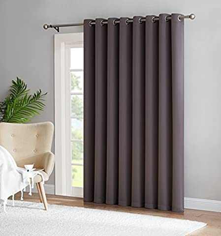 Nicole - 1 Patio Extra Wide Curtain Panel - Solid Thermal Insulated Drape - Premium Grommet Blackout - Ideal As Room Divider - For Sliding and Patio Doors (1 Patio 102x84, (Wide Room Divider)
