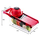 J&Jonson 6-1 Mandoline Vegetable Slicer& Cutter –Six Interchangeable Blades For Slicing Potatoes, Tomatoes, Zucchini, Onions & More –Includes Peeler, Hand Protector &Storage Container