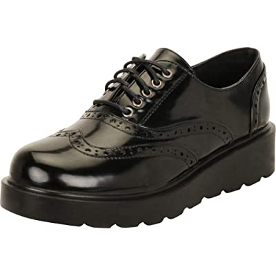 Amazon.com | Cambridge Select Women's Round Toe Wingtip Brogue Lace-Up Chunky Flatform Creeper Oxford | Oxfords