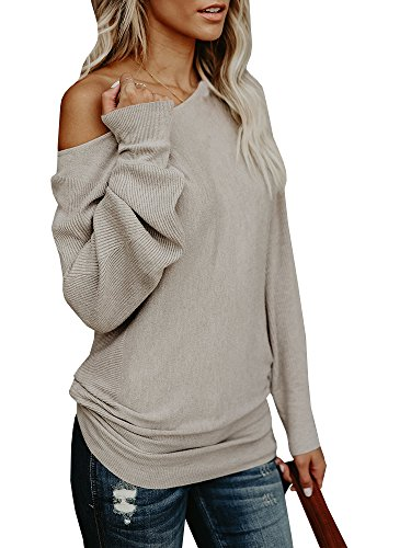 Off Shoulder Knit Sweater Top (Umeko Womens Off The Shoulder Sweater Oversized Knit Long Sleeve Sweaters Tunic Tops)