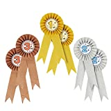 6-Pack Award Ribbons - Rosette Ribbons Award Set - Recognition Awards for 1st, 2nd, 3rd Place of Science Fairs, Ceremonies and Events Certificates, Gold, Silver, Bronze, 7.5 inches