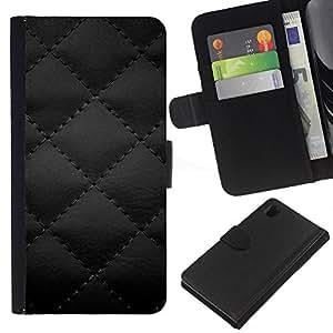 YiPhone /// Tirón de la caja Cartera de cuero con ranuras para tarjetas - CUERO NEGRO EDREDÓN DIAMANTE IMPRESIÓN - Sony Xperia Z1 L39