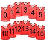 Unlimited Potential Nylon Mesh Numbered Scrimmage Team Practice Vests Pinnies Jerseys for Children Youth Sports Basketball, Soccer, Football, Volleyball (Red Numbered, Youth)
