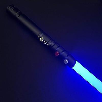 Saber Studio Force FX Lightsaber Metal Aluminum Hilt, Black Series RGB LED Light Saber Heavy Dueling, Realistic Light and Blaster Sound, for Ages 6 & Up --NO037 (Black): Toys & Games