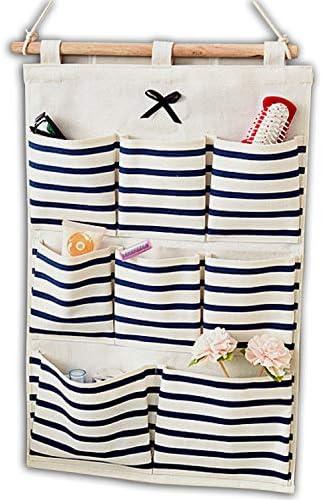 Baanuse Aufbewahrungstasche H/ängeorganizer Multifunktionale Wohnzimmer Schlafzimmer Bad 8 Taschen Blau Streifen