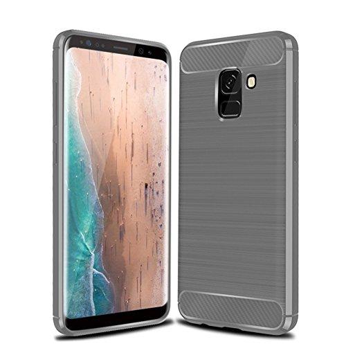 Funda Samsung A8 Plus 2018,Funda Fibra de carbono Alta Calidad Anti-Rasguño y Resistente Huellas Dactilares Totalmente Protectora Caso de Cuero Cover Case Adecuado para el Samsung A8 Plus 2018 B