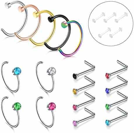 Nose Hoop Ring, 4PCS-17pcs 316L Stainless Steel Zolure Piercing Nose Ring Hoop Tragus Hoop Earring