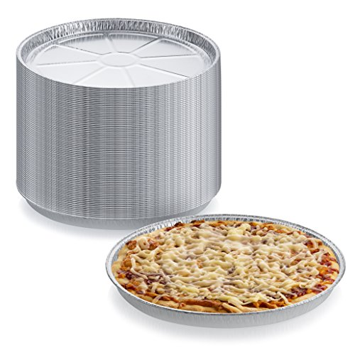 Pack of 12 Disposable Round Foil Pizza Pans - Durable Pizza Tray for Cookies, Cake, Focaccia and More - Size: 12-1/4