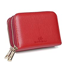 SHANSHUI RFID Blocking Primely Genuine Leather Credit Card Holder, Coin Purse, Twin Golden Metal Zippers Sectioned Concertina 12 Credit Card Case - Gift Boxed (Red)