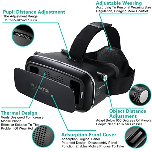 3D VR Headset, Yove 3D Virtual Reality Headset with Adjustable Lens and Strap for iPhone 7 6 6s 5 5s 6splus Samsung S3 Edge Note 4 and 3.5-5.5 inch Smartphone for 3D adult Movies and 3D Games by yove (Image #2)