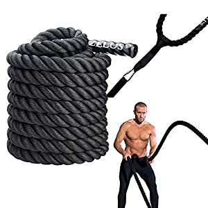Well-Being-Matters 514C3B8nhVL._SS300_ ZELUS Battle Ropes with Anchor Strap Kit | Pure Poly Dacron Exercise Ropes | 1.5/2in Diameter | 30/40/50ft Length…