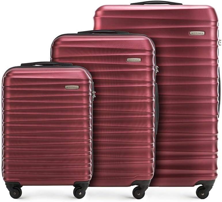 Wittchen Conjunto de maleta resistente de 3 piezas. Maleta trolley maleta de viaje de Borgoña ABS maleta rígida set maleta trolley 4 ruedas cerradura de combinación, color Burgund