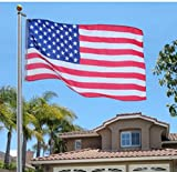 USA Premium Store 25Ft Aluminum Sectional Flagpole Kit Outdoor Halyard Pole + 1PC US American Flag
