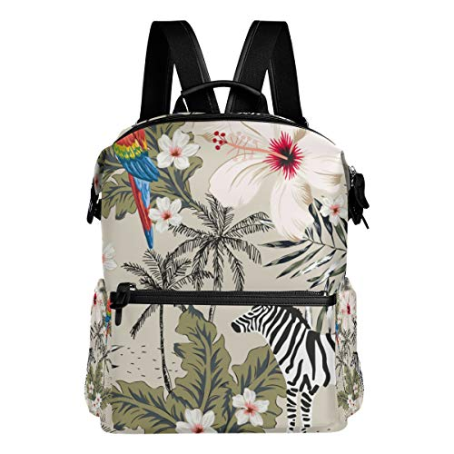 TARTINY Tropical Zebra Animal Macaw Parrot Hibiscus Laptop Backpack Leather Strap School Bag Outdoor Travel Casual Daypack