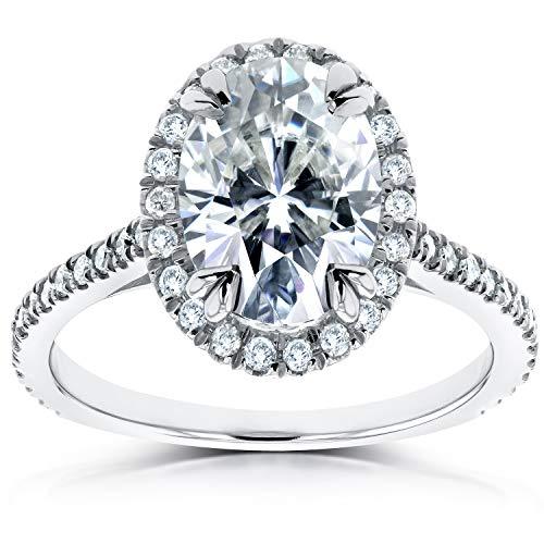 Oval Moissanite and Lab Grown Diamond Halo Engagement Ring 1 4/5 CTW 14k White Gold (HI/VS, DEF/VS), 7 from Kobelli