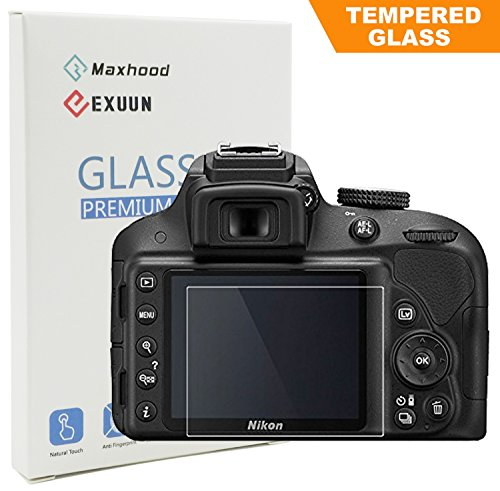 Nikon D3400 D3200 D3300 LCD Tempered Glass Screen Protector, Exuun Optical 9H Hardness 0.3mm Thin Tempered Glass for Nikon D3200 D3300 D3400 Glass Lcd Screen Protector