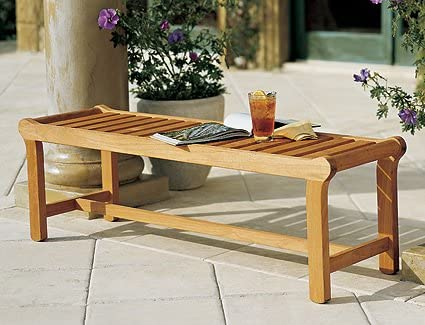 WholesaleTeakFurniture New Grade A Teak Wood Luxurious Outdoor Garden 55 Revni Backless Bench WFBHBL