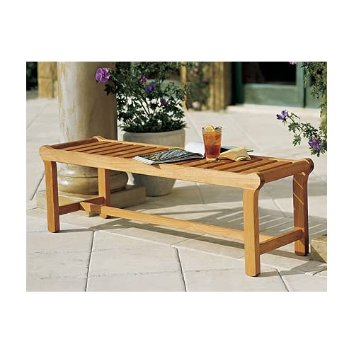 "WholesaleTeakFurniture New Grade A Teak Wood Luxurious Outdoor Garden 55"" Revni Backless Bench #WFBHBL"