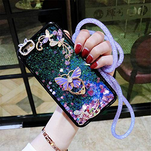 Butterfly Ring Kickstand Case for Samsung Galaxy S9,Aoucase Luxury 3D Butterfly Diamond Glitter Crystal Quicksand Soft TPU Bumper Neck Lanyard Liquid Case with Black Dual-use Stylus,Purple