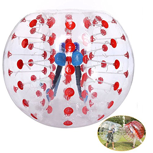 Inflatable Bumper Ball TPU Transparent Human Knocker Zorb Ball Bubble Soccer for Adults and Child 1.2M Diameter [US STOCK] (Red) by Cheesea