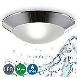 LED Bathroom Ceiling Light I Splash-proof Lamp I Flush mount light fitting I matt chrome design I warm white I Metal, Plastic and Glass I maxx 40 Watt I IP44 I E27 Socket I 230 V I Ø 310 mm