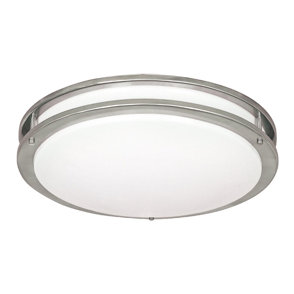 NICOR Lighting 18-Inch Cold Rolled Steel Surface Mount Ceiling Fixture with Frosted Acrylic Diffuser Nickel Finish 30018-FL-NK
