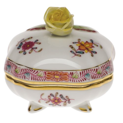Herend Chinese Bouquet Multicolor Covered Bonbon With Rose