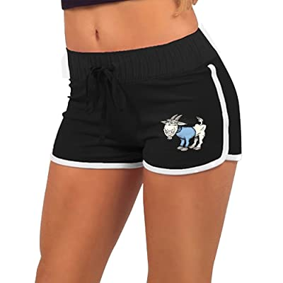 Anneil Women's Goat Cartoon Blue Cute Personality Yoga Shorts Low Waist Shorts Running Sports Shorts