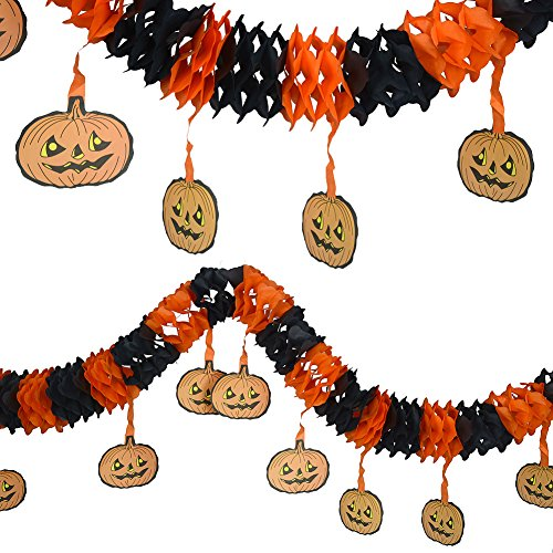 2Pcs Precious Halloween Pumpkin Paper Chain Garland Decoration Prop Shape OH -