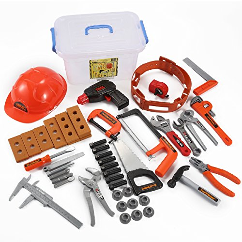 JOYIN Kids Tool Set with Electronic Cordless Drill, Safety Helmet, and 48 Pieces Pretend Construction Toys with Bonus Storage Box ()