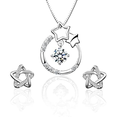 c28009072 ONECK Jewellery Set 925 Sterling Silver Crystal Silver Necklace Earrings Set  for Women with Exquisite Jewellery Gift Box (Star set-white): Amazon.co.uk:  ...