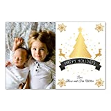 30 Christmas Family Photo Card Holiday Greeting Personalized Raindeer Gold Black Photo Paper