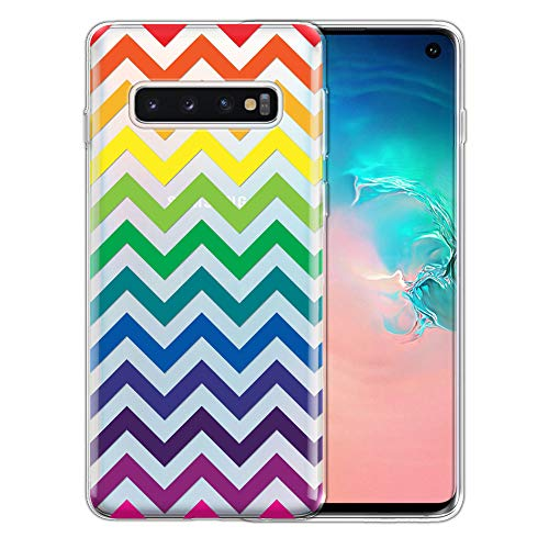 FINCIBO Case Compatible with Samsung Galaxy S10 6.1 inch, Clear Transparent TPU Silicone Protector Case Cover Soft Gel Skin for Galaxy S10 (NOT FIT S10 Plus) - LGBT Chevron Pattern ()