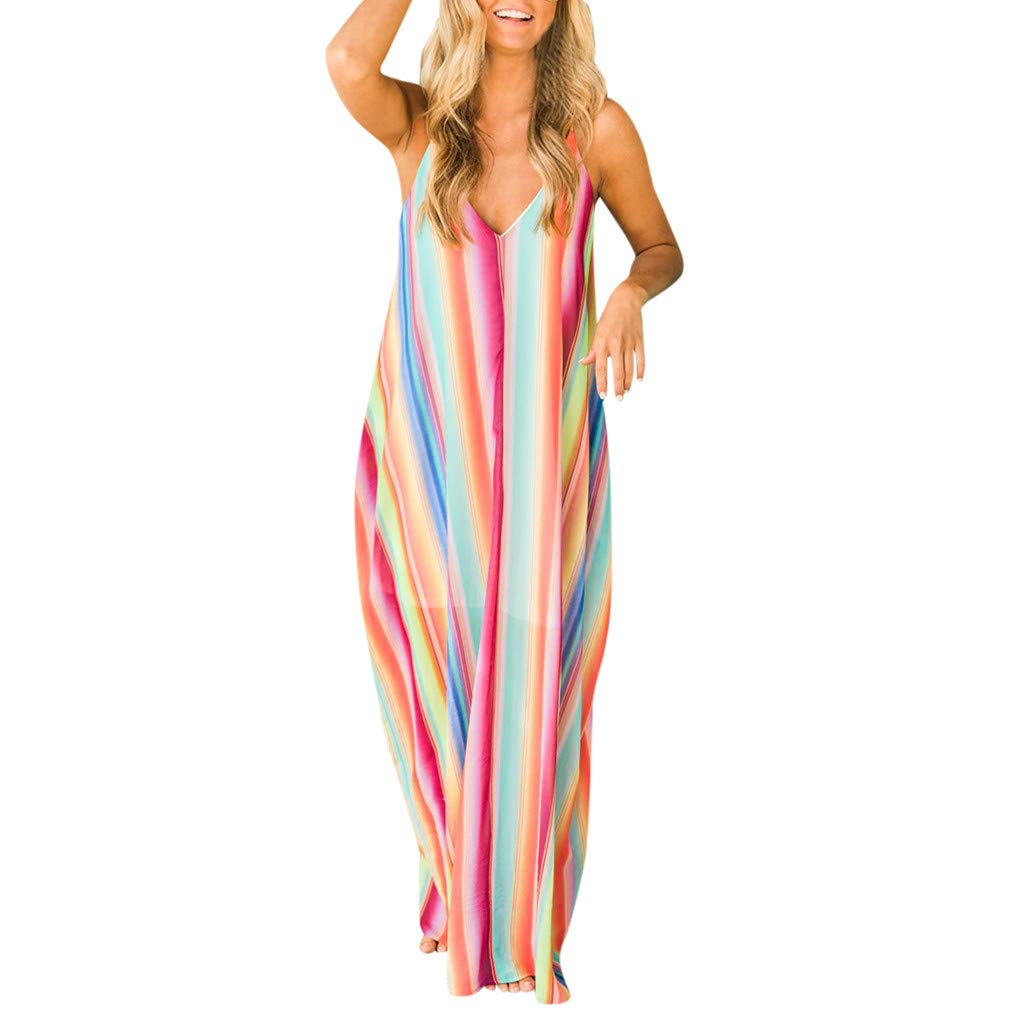 Dresses for Women Colorful Striped Bohemian Strappy Sleeveless V Neck Loose Summer Long Dress (XL, Multicolor)